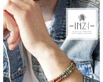 Double bracelet Jasper, pyrite and hematite INZ - I - model LENNY