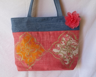 purse eco friendly denim pink tone floral upholstery fabric