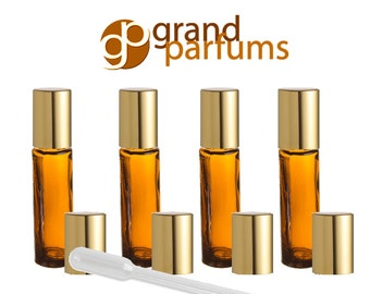 6 8ml Amber Glass Roll-on Bottles w/ GOLD, COPPER or SILVER Caps Roller Balls Perfume, Essential Oil, Lip Balm, Party Favor, Purse Travel
