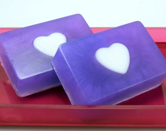 Blackberry Magnolia Glycerin Soap Bar, Handmade Heart Soap