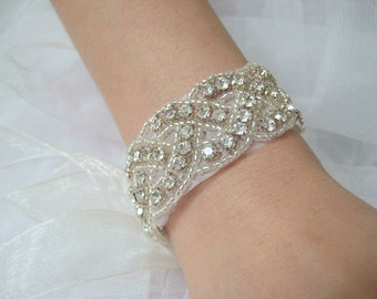 Bridal beaded crystal woven bracelet.  Rhinestone wedding ribbon bracelet. Classic Braid