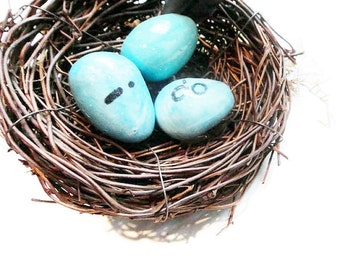Clay Robin's Eggs in a nest - I DO