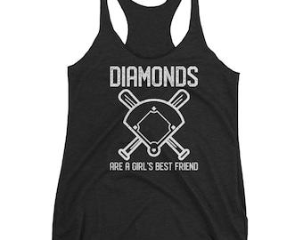 Diamonds are a Girl's Best Friend - Baseball Mom, Softball Mom - Racerback Tank