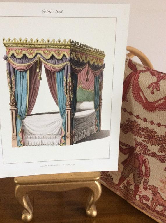 schlafzimmer druck himmelbett bett regentschaft zeitraum inneneinrichtung antiken wand dekor schlafzimmer zeichnungen haus und wohnzimmer schlafzimmer - Gotische Himmelbettvorhnge