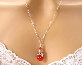 Bridesmaid Orange Necklace, Bridesmaid Gift, Carnelian Pendant Pumpkin Necklace, Sterling Silver Orange Jewelry, Weddings