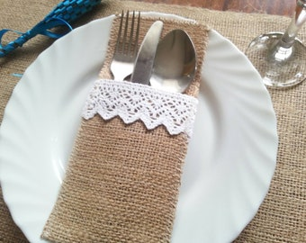 Rustic Burlap and Lace Silverware Holders, Set of 10
