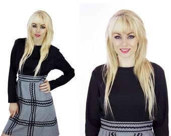 Mod A-line Dress Black & Gray Rick Rack Trim Perfect Fall Dress Mad Men Sixties Twiggy 70s Retro 1960s Medium M