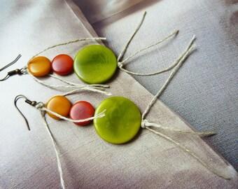 Ivory Pearl Earrings leather and hemp