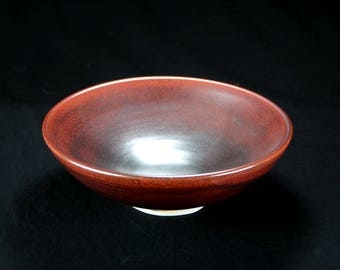 Bronze Ceramic Serving Bowl, Hand Thrown Porcelain Pottery, Salad, Iron Red, Mixing, Mom Gift, Home Decor, Kitchen   Caldwell Pottery