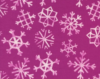 SALE - Garland Snowflakes in Grape by Sarah Wattts forCotton Steel Cutton Frabic - 1yard