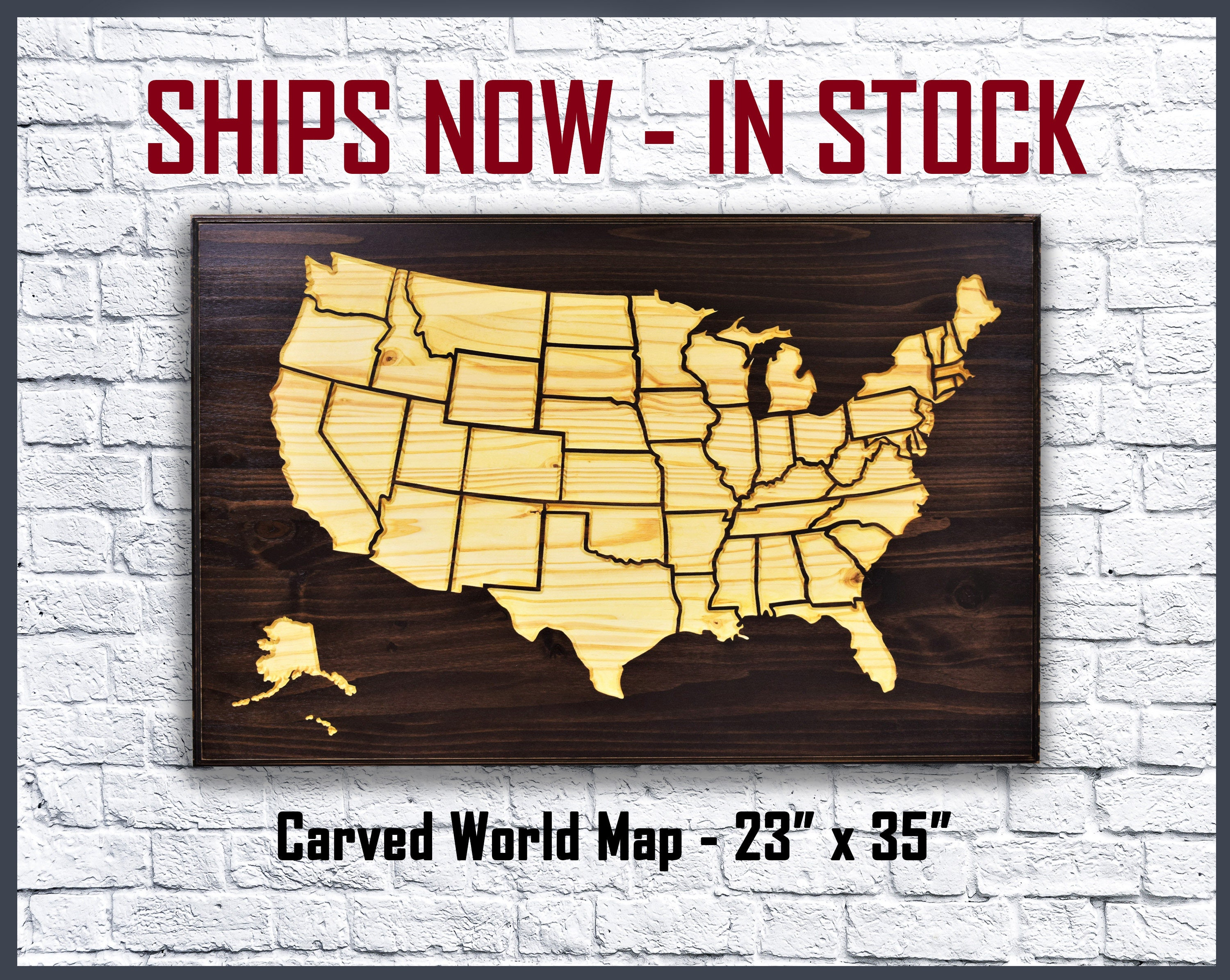 Carved Wood US Map: In Stock Ships Immediately Great for
