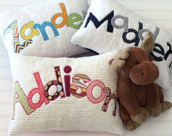 Customized Personalized Name Pillow with Appliqued Letters Pillow Cover Chenille Pillow