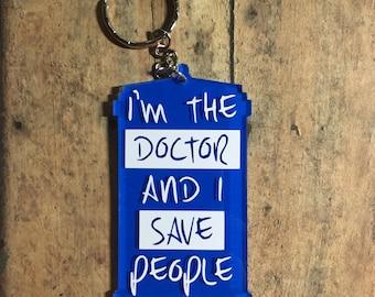 i save people keychain / twelfth doctor / quote / tardis / keychain / doctor who / clara /