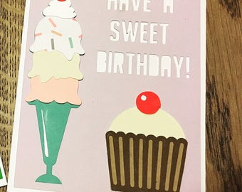 Ice cream birthday card, Sweet Treats Birthday Card, Cupcake Birthday Card