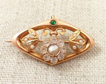 "Antique Art Nouveau Victorian 14K Pearl and Paste Accented Signed ""PROV"""