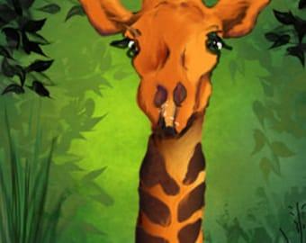 The Giraffe - ACEO friendly animal art
