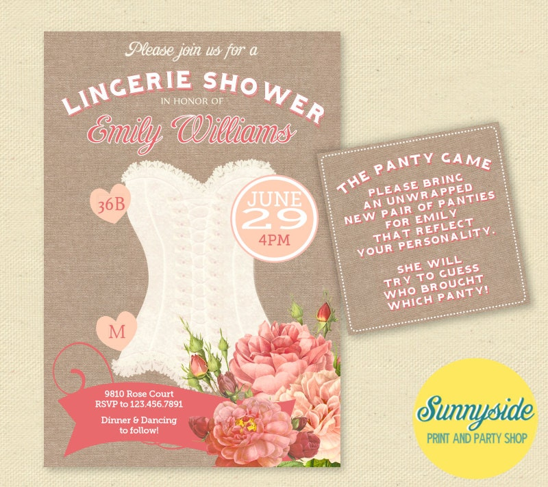 Vintage Peach Rose Lingerie Shower Invitation Burlap