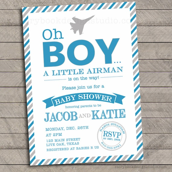 Oh boy military baby shower invitations air force army filmwisefo