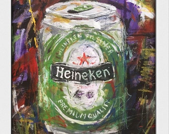 Can of Heineken.. Decorative, Art, Beer, Acrylic, SketchyArt, kitchen Art, Still Life