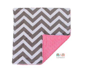 Grey Chevron on Hot Pink Minky Newborn Baby Lovey, Custom Made, Shower Gift, Newborn Gift, Security Blanket, Stroller Blanket, Travel Lovey