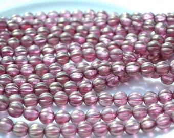 Cherub Dusty Pink 8mm Melon Czech GLass Beads  25