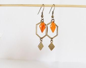 Earrings graphic hexagons and diamonds enamel orange