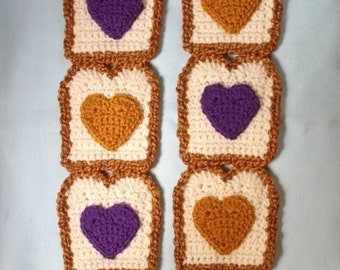 Peanut Butter , Peanut Butter and Jelly SCARF, Toast Scarf , The Original , I Heart Peanut Butter and Grape Jelly Toast , Farmers Market