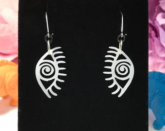 COSMIC VISION // Spiral ICTC Eyes Earrings Silver Black White Universal Energy Black Holes White Light Crystal Vision Clear Sight Truth Love