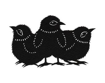 Chicks - 5 x 7 inch Cut Paper Art Print