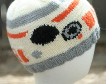 BB8 Inspired Hand Knit Wool Hat