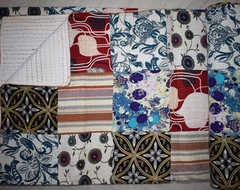 Vintage Kantha quilts Hand Stitched Quilt Indian Cotton, Bohemian Boho Block Printed,Coverlet