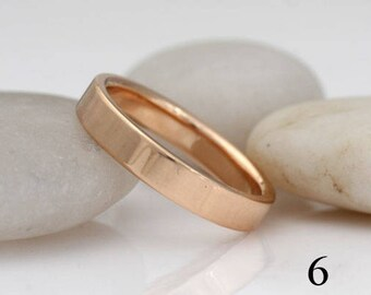Peach gold wedding band, size 6 ready to ship, or custom sizes and colors, #405.