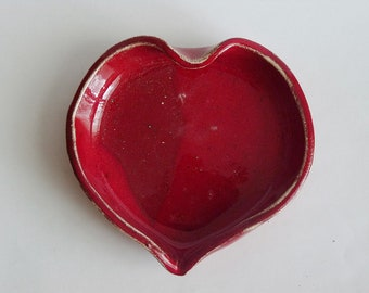 Heart ring dish,dotted heart ring, red heart plate
