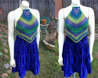 Blues and Greens - One of a kind Halter dress - Size Small -  Crocheted - Velvet
