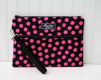 Pink Dot Kindle / iPad Mini /  Nook / eReader / Padded Pouch / Wristlet / Bag