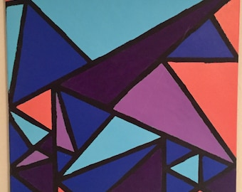 "20"" x 20"" Acrylic Painting: Triangles #3 (Andrew)"