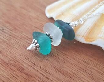 Teal and White Sea Glass Necklace, Irish Sea Glass Necklace, Stacked Sea Glass Necklace, Stacked Sea Glass Pendant