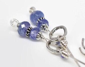 Tanzanite Earrings, Periwinkle Blue Earrings, December Birthday Gift, Sterling Silver Artisan Gemstone, Tanzanite Jewelry, MahiDesigns1