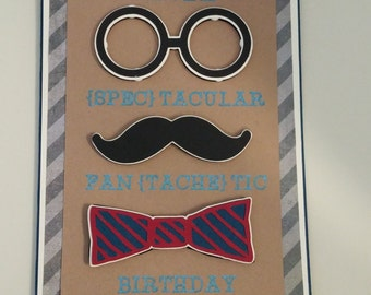Mustache and Glasses Birthday Card