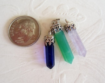 Three Gemstones-Points-Sterling Silver-Three Pieces