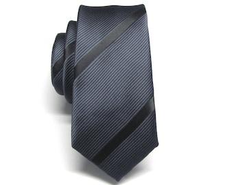 Mens Ties Skinny Tie. Grey and Black Stripes Skinny Necktie