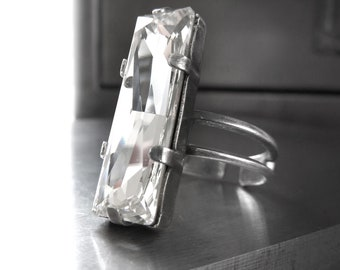 Modern Architectural Crystal Ring, Swarovski Crystal Baguette Rectangle Cocktail Ring, Antiqued Silver Adjustable Ring, Modern Ring Jewelry