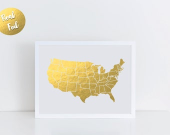 USA map, print gold foil, Real gold foil, Custom, Wall Art, Office Decor, Room Decor, Dorm Decor, Rose Gold foil, map print, Unites States
