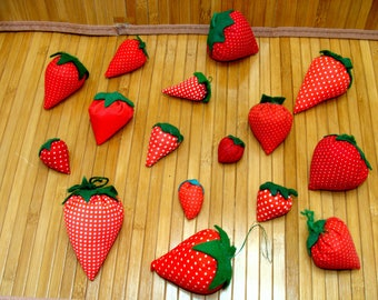 Old strawberry pincushion collection-old sewing strawberries pin cushion lot
