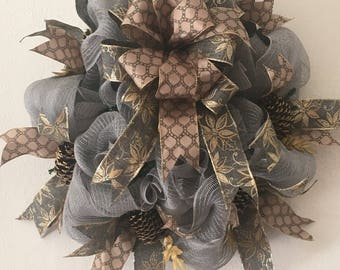 Grey Pinecone Wreath