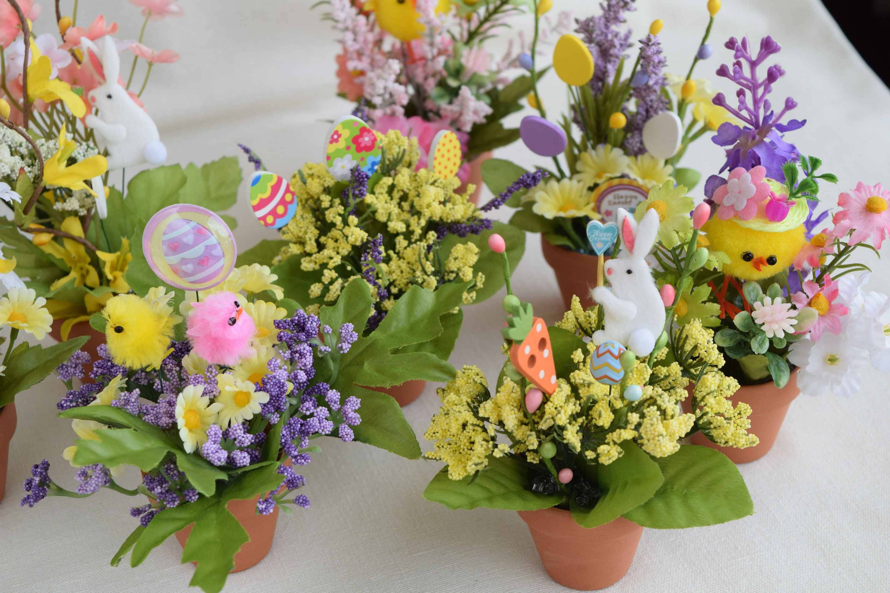Easter Miniature Flower Pots With Miniature Artificial Flowers