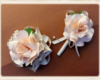 Paper flower wrist corsage and boutonniere