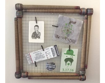 Memo / Photo Board Vintage Upcycled Antique Wood Bobbin Rustic Frame with Chicken Wire & Mini Clothespins