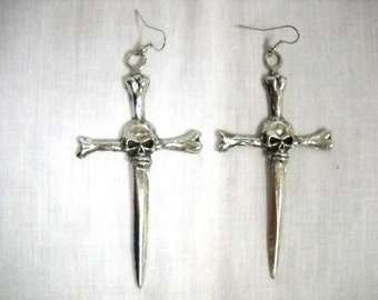 XLarge Big SKULL CROSS Sword Dagger Solid Hand Cast Silver Color Pewter Full Pendant Dangling Real Metal Bold Goth Earrings