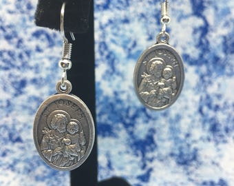 Saint Joseph | Patron Saint of the Universal Church, Fathers, and Workers | With or Without Bead | Nickel Free | Dangle Hook Earrings
